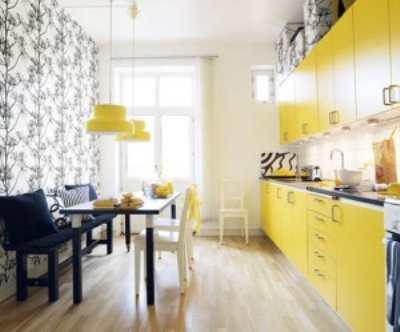 Желтый цвет в интерьере кухни